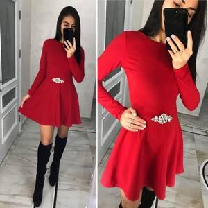 Платье короткое с длинным рукавом современное Ц3579