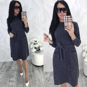 Платье короткое с длинным рукавом зимнее Ф8291