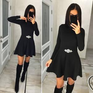 Платье короткое с длинным рукавом однотонное Ц3580