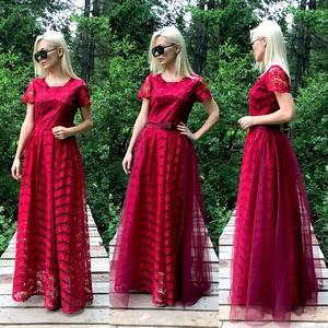 Платье длинное красное нарядное Т9584