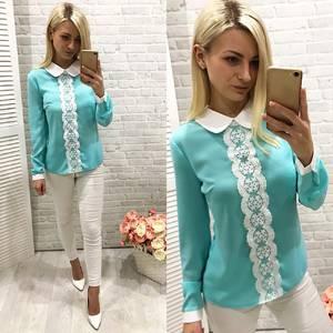 Блуза голубая с длинным рукавом Ф0769