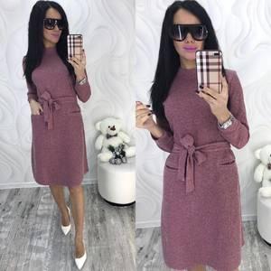 Платье короткое с длинным рукавом зимнее Ф8292