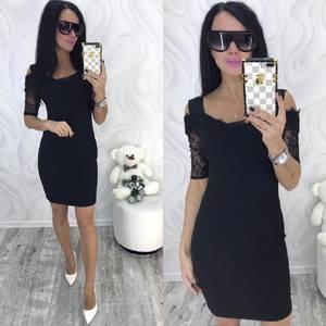 Платье короткое нарядное черное Ф8699