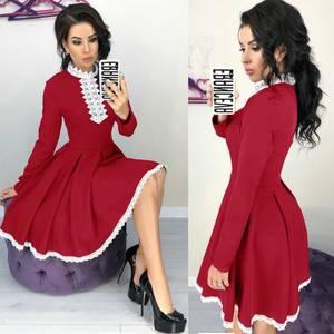 Платье короткое нарядное с длинным рукавом Х0176