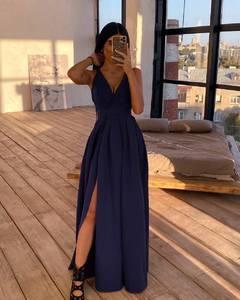 Платье длинное однотонное А24191