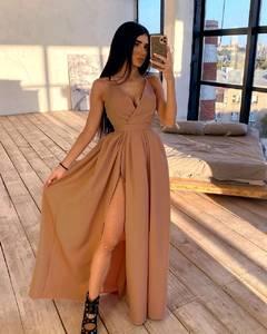 Платье длинное однотонное А24192