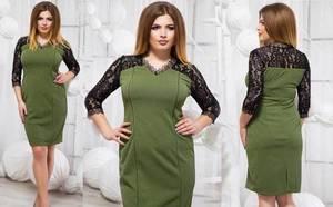 Платье короткое нарядное зеленое Ф5905