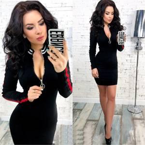Платье короткое с длинным рукавом черное У9839