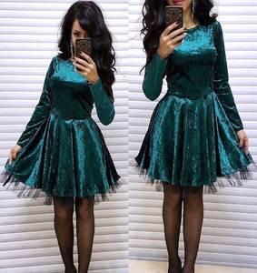 Платье короткое нарядное с длинным рукавом Ф7862