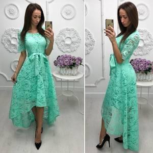 Платье длинное голубое нарядное Ф7970
