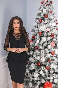 Платье короткое вечернее черное Ф8071