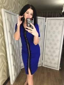 Платье короткое нарядное синее Х0534