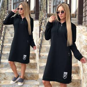 Платье короткое с длинным рукавом повседневное Ф0368