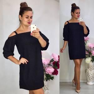 Платье короткое однотонное черное Ф0503