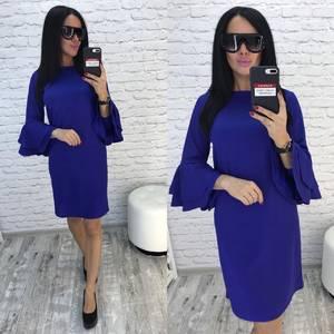 Платье короткое нарядное синее Ф0728