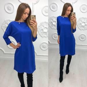 Платье короткое синее однотонное Ф1380