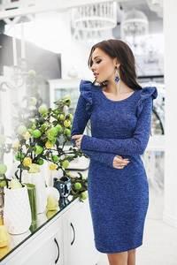 Платье короткое с длинным рукавом синее Ф1530