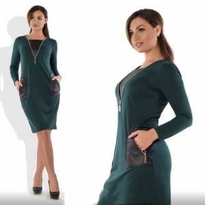 Платье короткое нарядное зеленое Ф2306