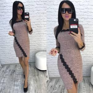 Платье короткое трикотажное облегающее У9783