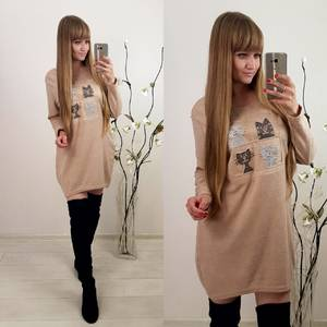 Платье короткое с длинным рукавом современное Ф0393