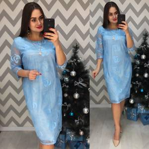 Платье короткое нарядное голубое Ф7733
