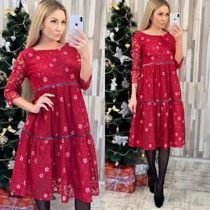 Платье короткое нарядное с рукавом 3/4 Ф7959