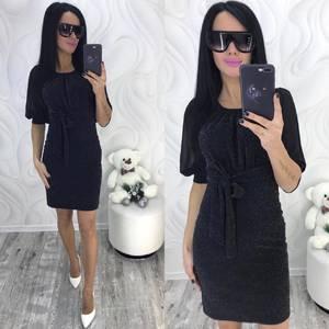 Платье короткое нарядное черное Ф9885