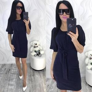 Платье короткое нарядное синее Ф9886