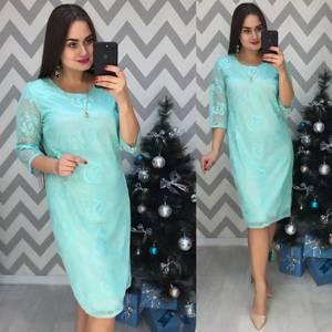 Платье короткое нарядное голубое Ф7734