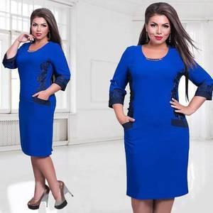 Платье короткое с рукавом 3/4 синее Ф5273