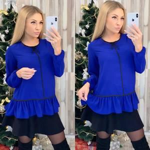 Блуза с длинным рукавом синяя Ф8015