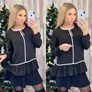 Блуза с длинным рукавом черная Ф8020