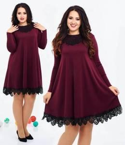 Платье короткое с длинным рукавом с кружевом Ф8059