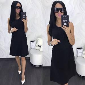Платье короткое однотонное черное Х8021