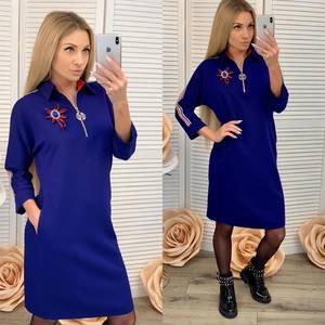 Платье короткое с рукавом 3/4 синее Ф6461