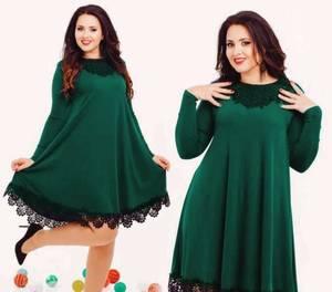 Платье короткое с длинным рукавом с кружевом Ф8060