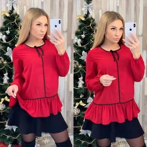 Блуза с длинным рукавом красная Ф8017
