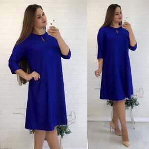 Платье короткое с рукавом 3/4 синее У9788