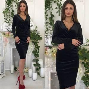 Платье короткое с длинным рукавом облегающее Ф5296