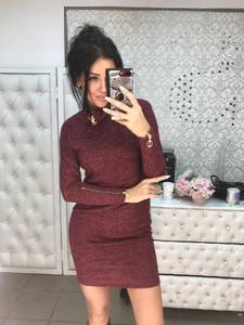 Платье короткое с длинным рукавом современное Ф6019