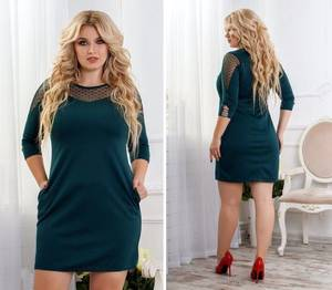 Платье короткое нарядное зеленое Ф6491