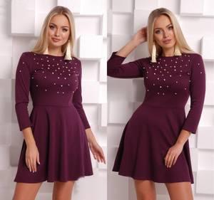 Платье короткое с рукавом 3/4 нарядное Ф8555
