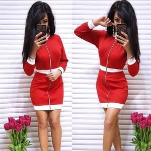 Платье короткое с длинным рукавом облегающее Ф9871