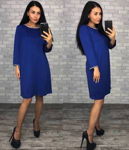 Платье короткое нарядное синее Ф0335