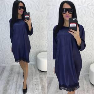Платье короткое нарядное синее У9353