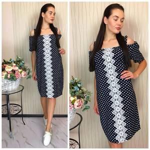 Платье короткое с кружевом Ф1477