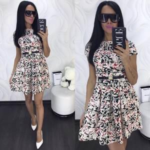 Платье короткое коктейльное с принтом Х8023
