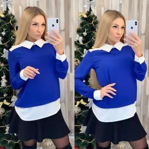 Блуза с длинным рукавом синяя Ф8022