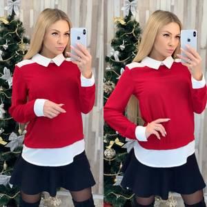 Блуза с длинным рукавом красная Ф8024