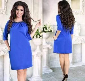 Платье короткое с рукавом 3/4 синее Ф6168
